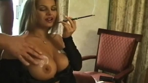 Beautiful secretary is eating her colleague's nipples and rubbing his dick before getting gently fucked